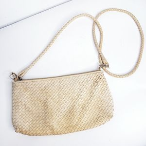 Clark's  leather woven cross body bag clutch